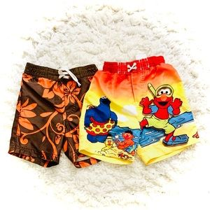Lot Bundle 2 Swim Trunks Sesame Street Tropical